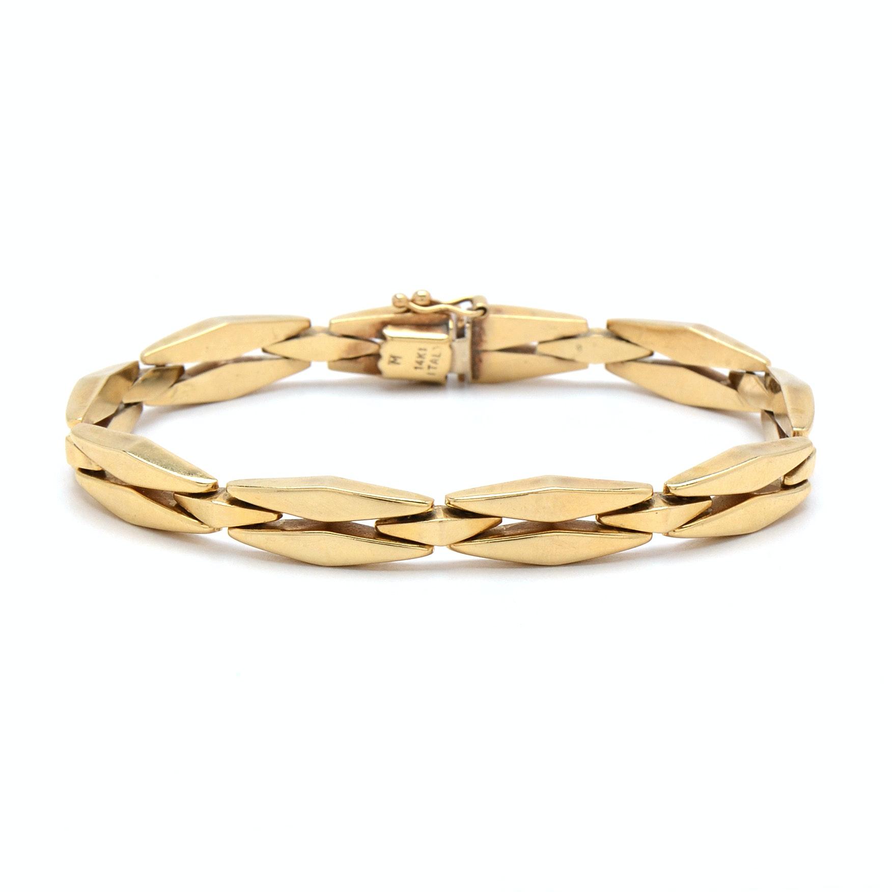 14K Yellow Gold Italian Unique Link Bracelet