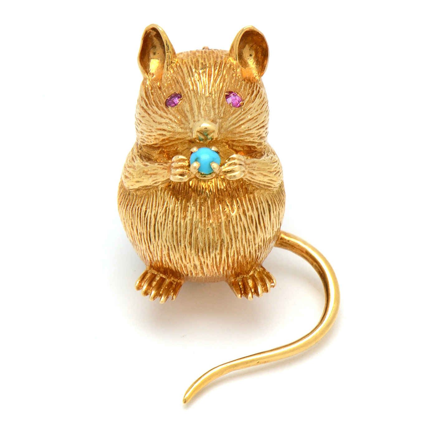 Tiffany & Co. 18K Yellow Gold Mouse Brooch