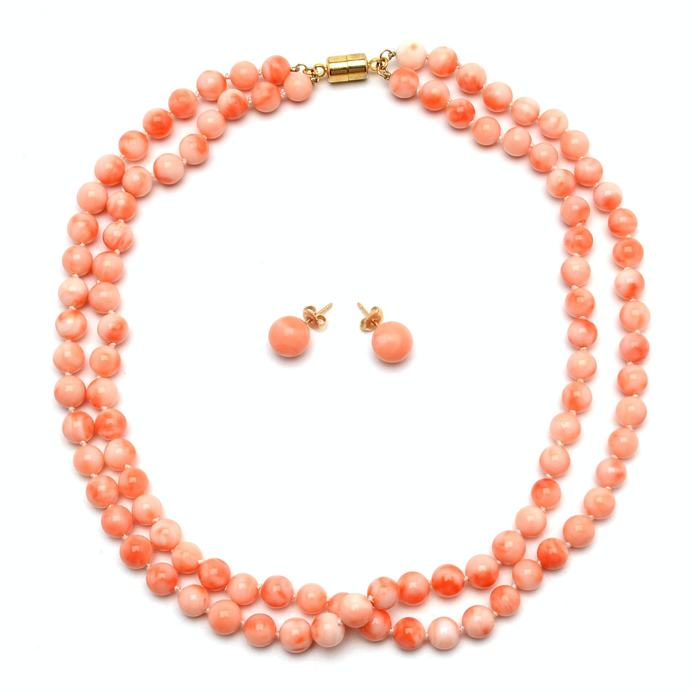 Hand Knotted Coral Double Strand Necklace with Coordinating Stud Earrings