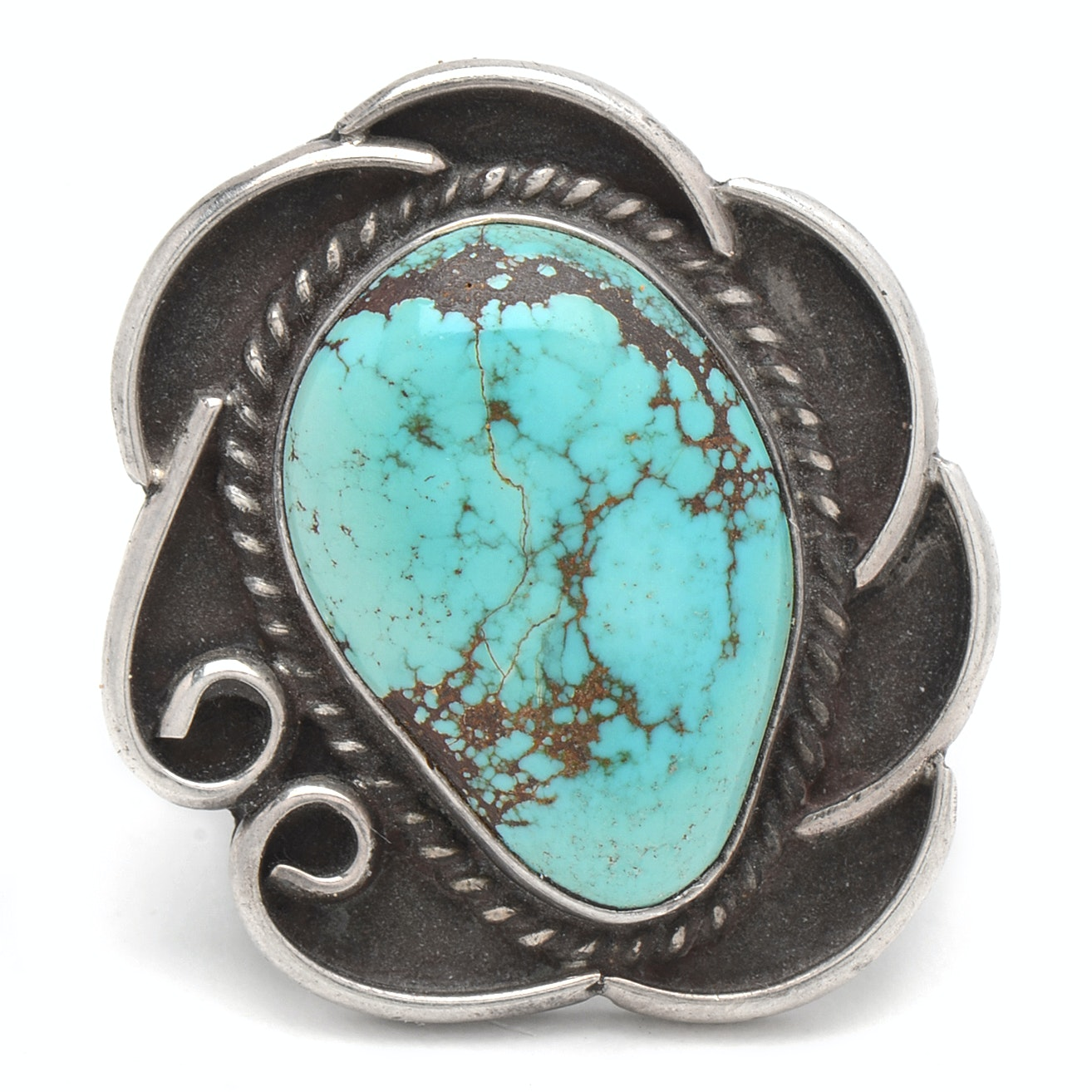 """Native American Style Sterling Silver Turquoise Ring Signed """"H Jones"""""""