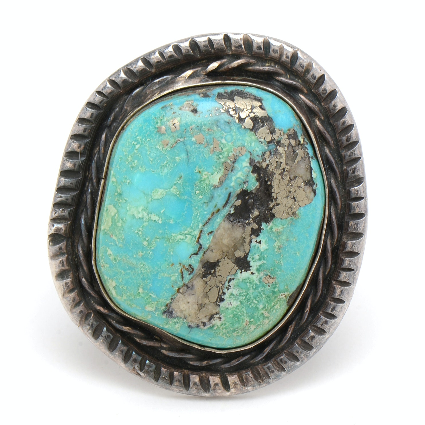 Native American Style Sterling Silver Ring with Large Turquoise Center Stone