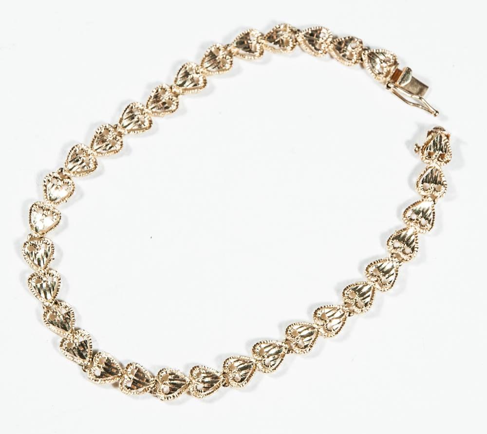 14K Sculptured Heart Link Bracelet