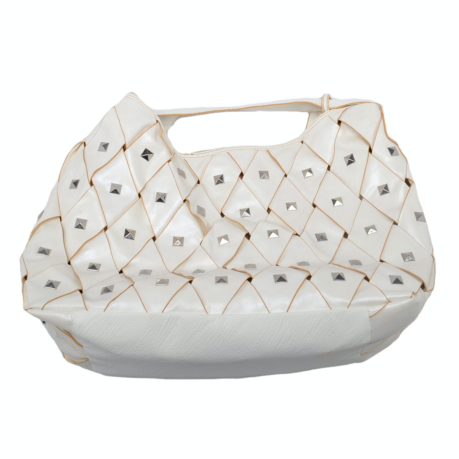 White Chocolate Woven, Studded Handbag