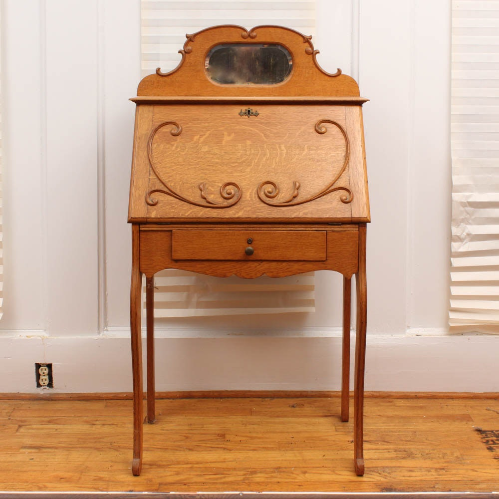 Antique American Oak Fall Front Writing Desk