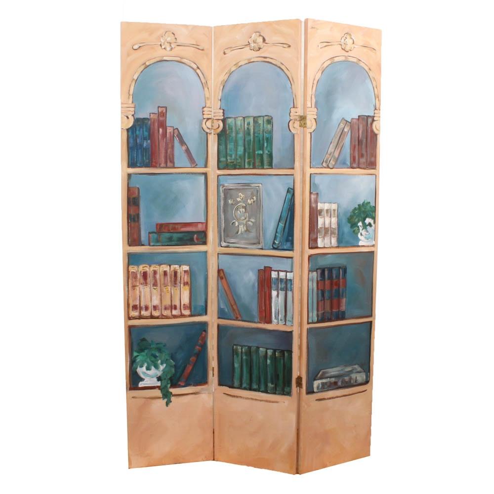 Room Divider with Trompe L'oeil Bookcase