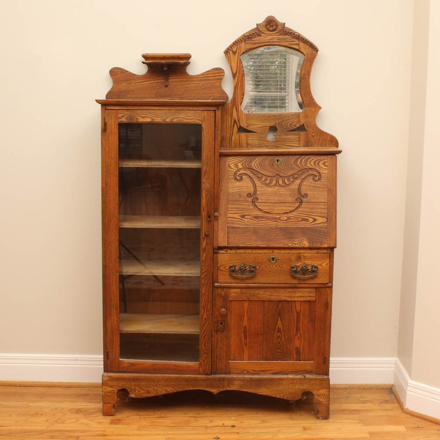 Vintage Oak Display Cabinet and Secretary ... - Vintage Oak Display Cabinet And Secretary : EBTH