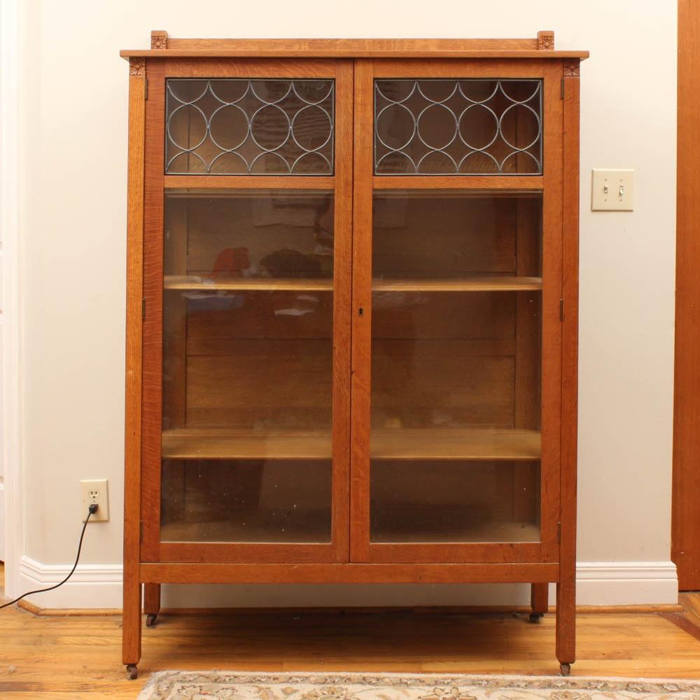 Vintage Arts & Crafts Style Tiger Oak Display Cabinet