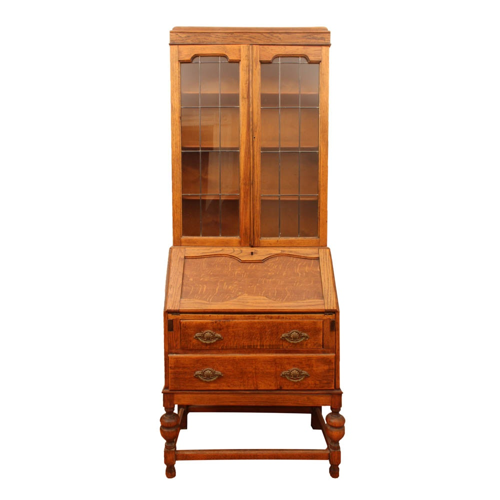 English Revival Style Oak Secretary Bookcase