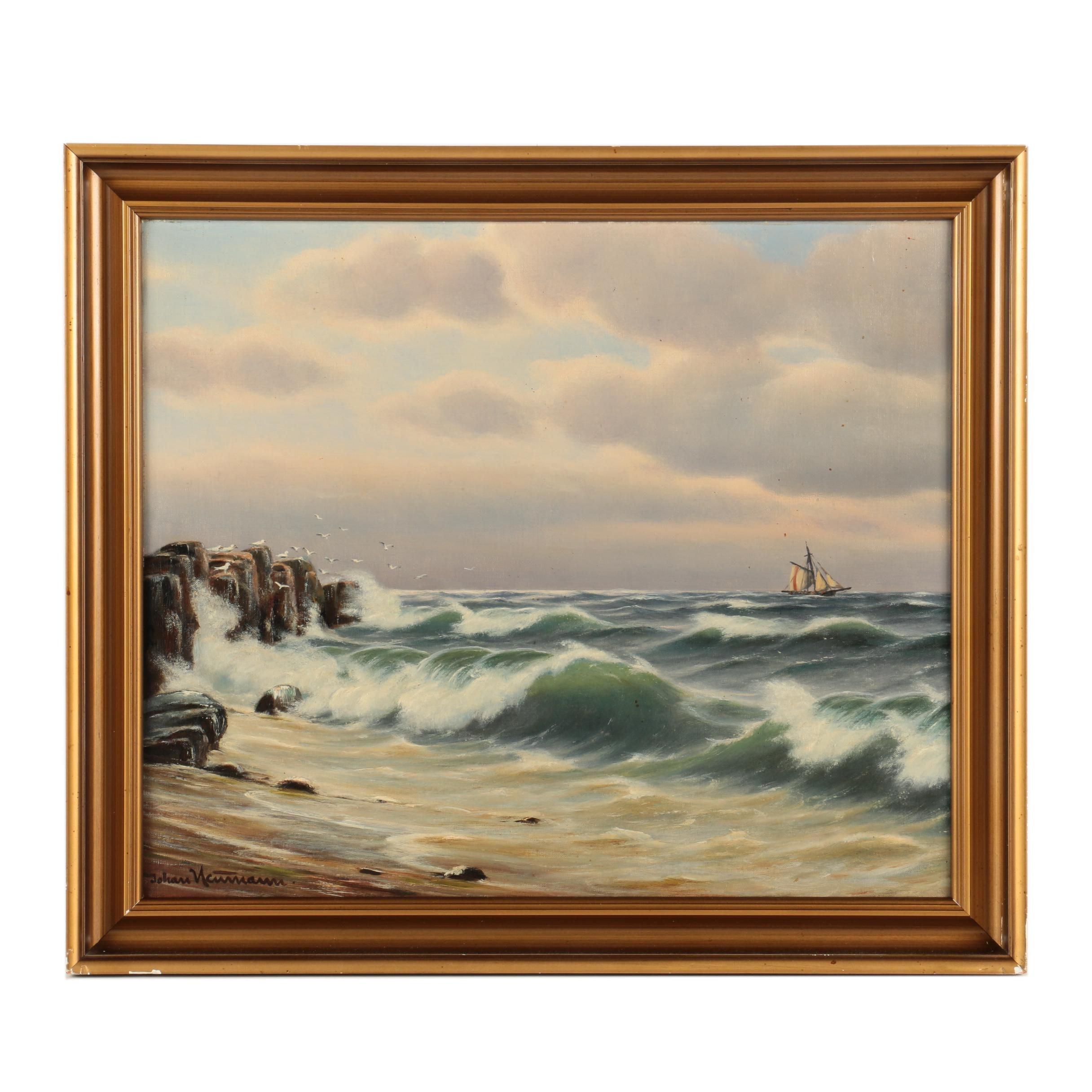 Johan Neutmann Oil Painting of a Ship at Sea