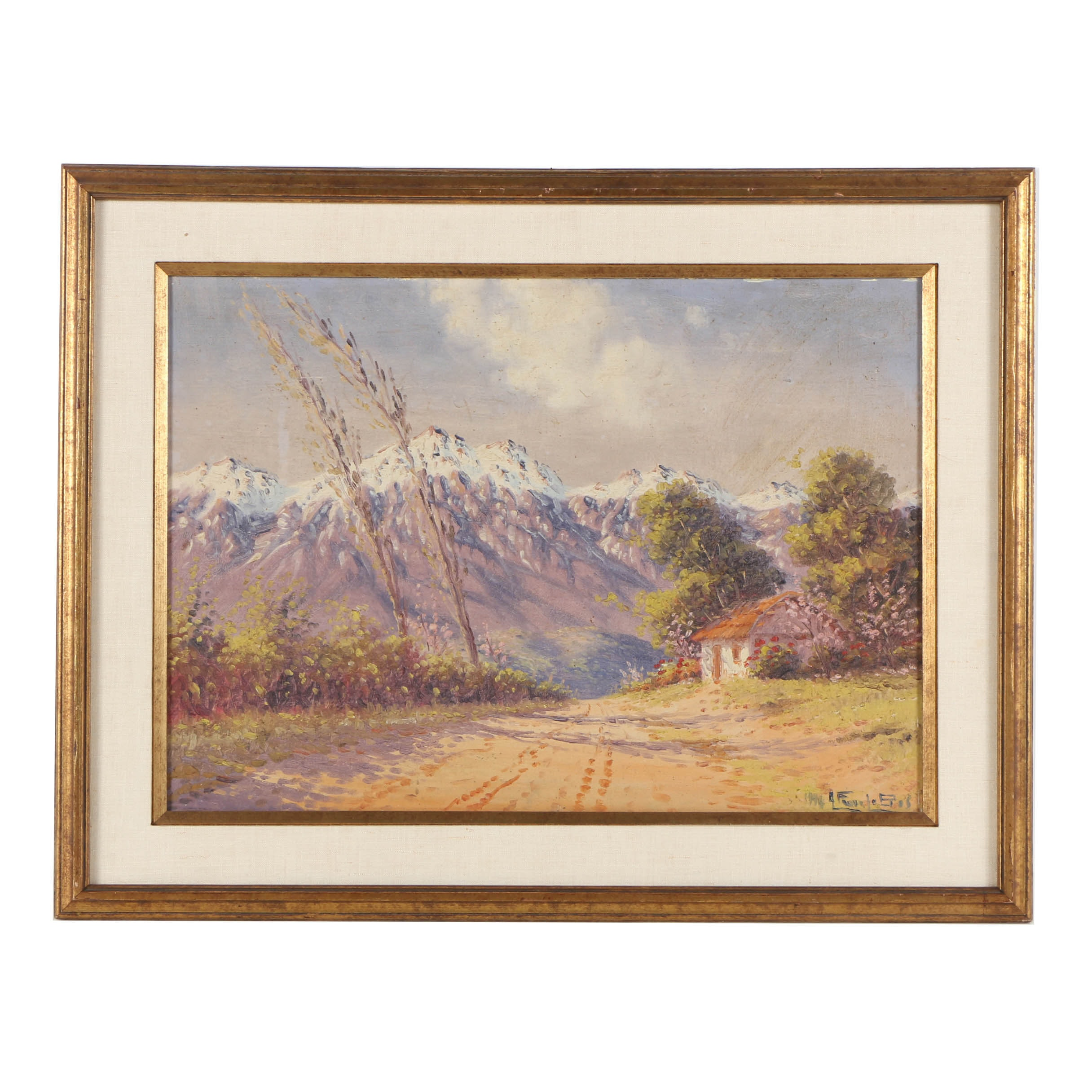 Alfredo Lobos 1946 Oil Painting of Mountain View