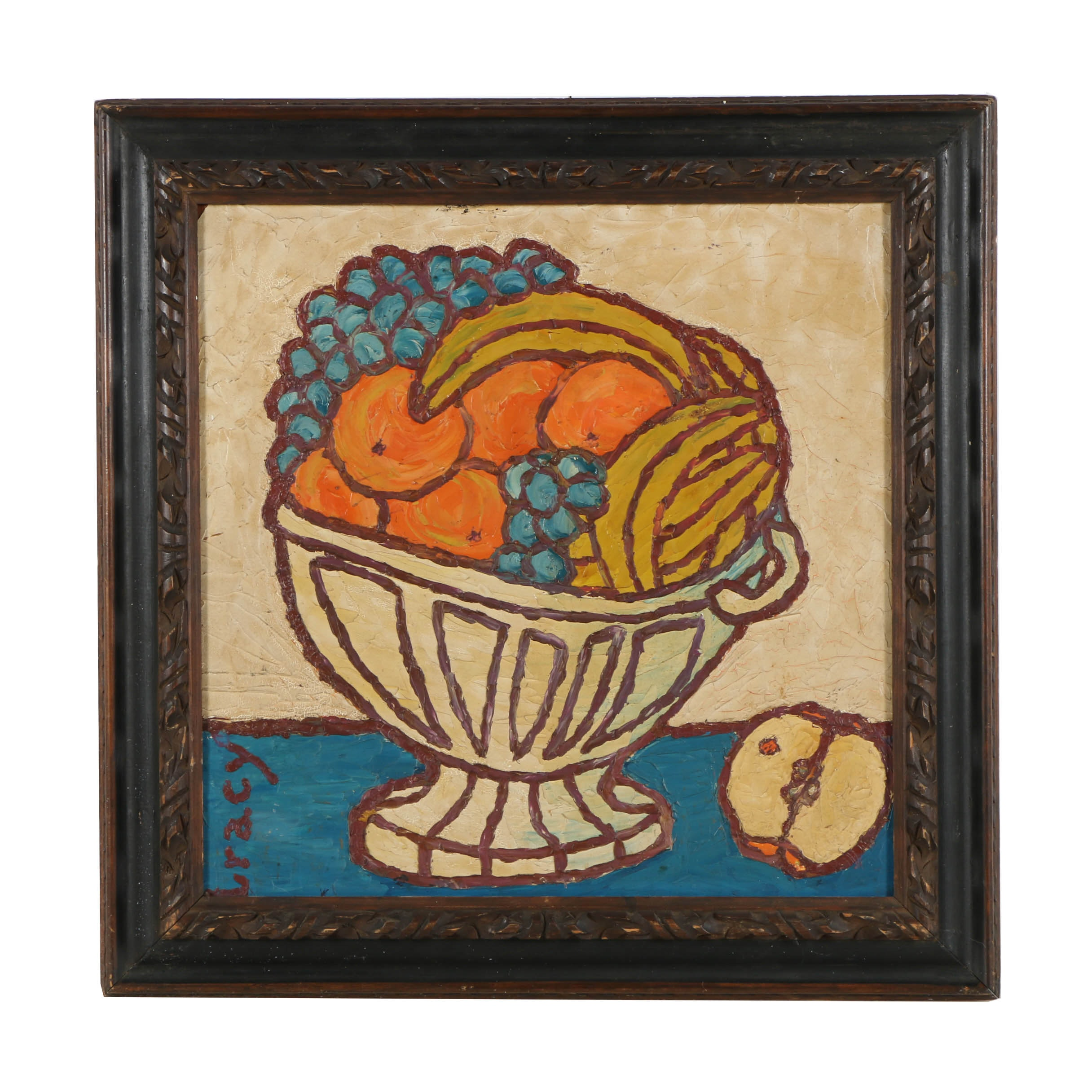 Signed Oil Painting of Fruit Still Life