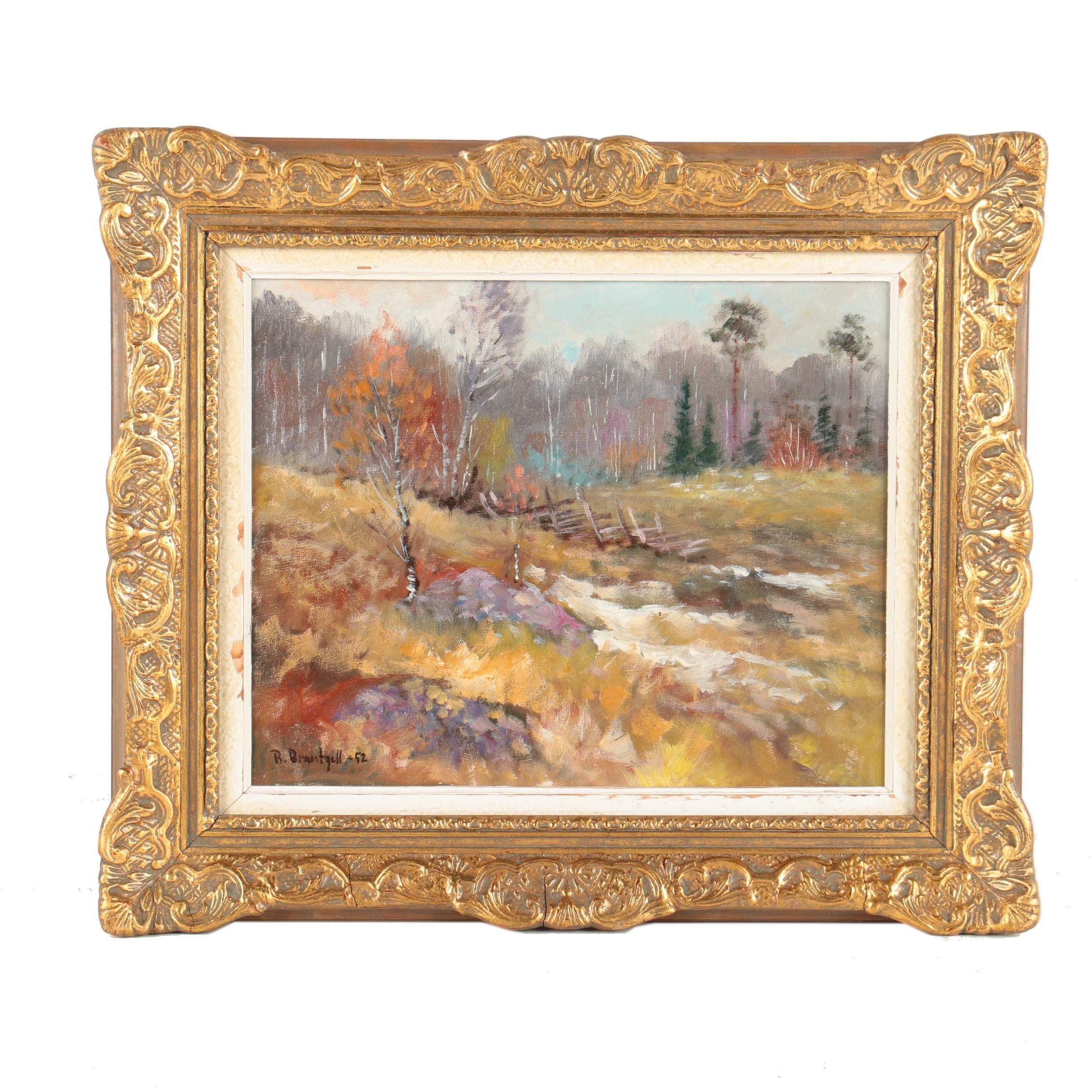 B. Brantzell Original 1952 Oil Painting on Canvas of Autumn Landscape