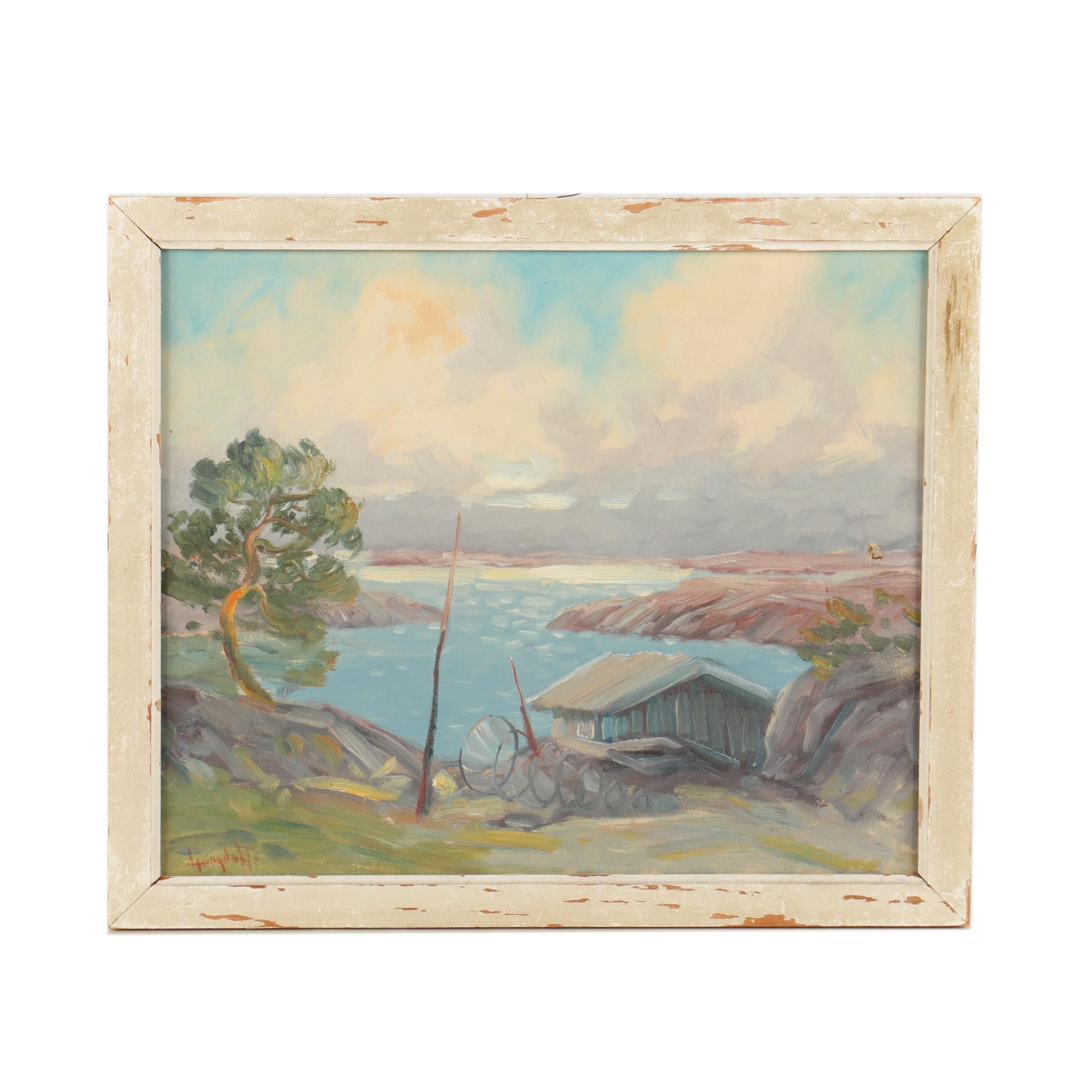 Oil Landscape Painting on Canvas Attributed to David Ljungdahl