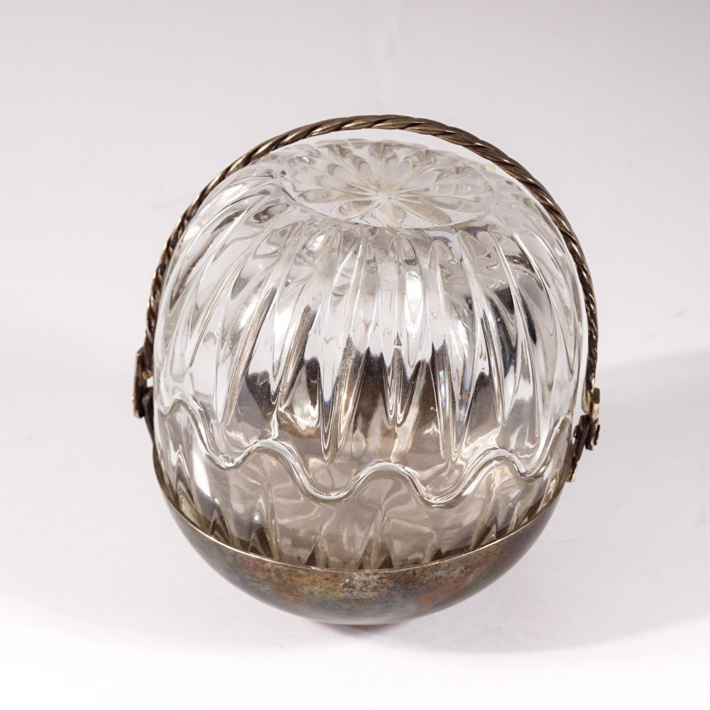 "Silver Plate and Glass ""Egg"" Candy Dish"