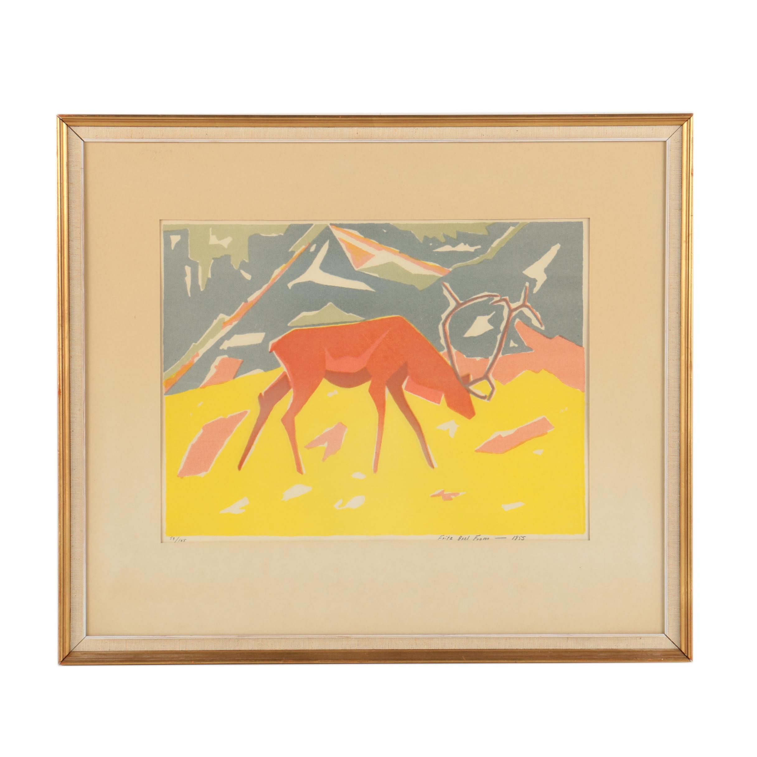 Fritz Axel From Limited Edition Color Lithograph of a Stag