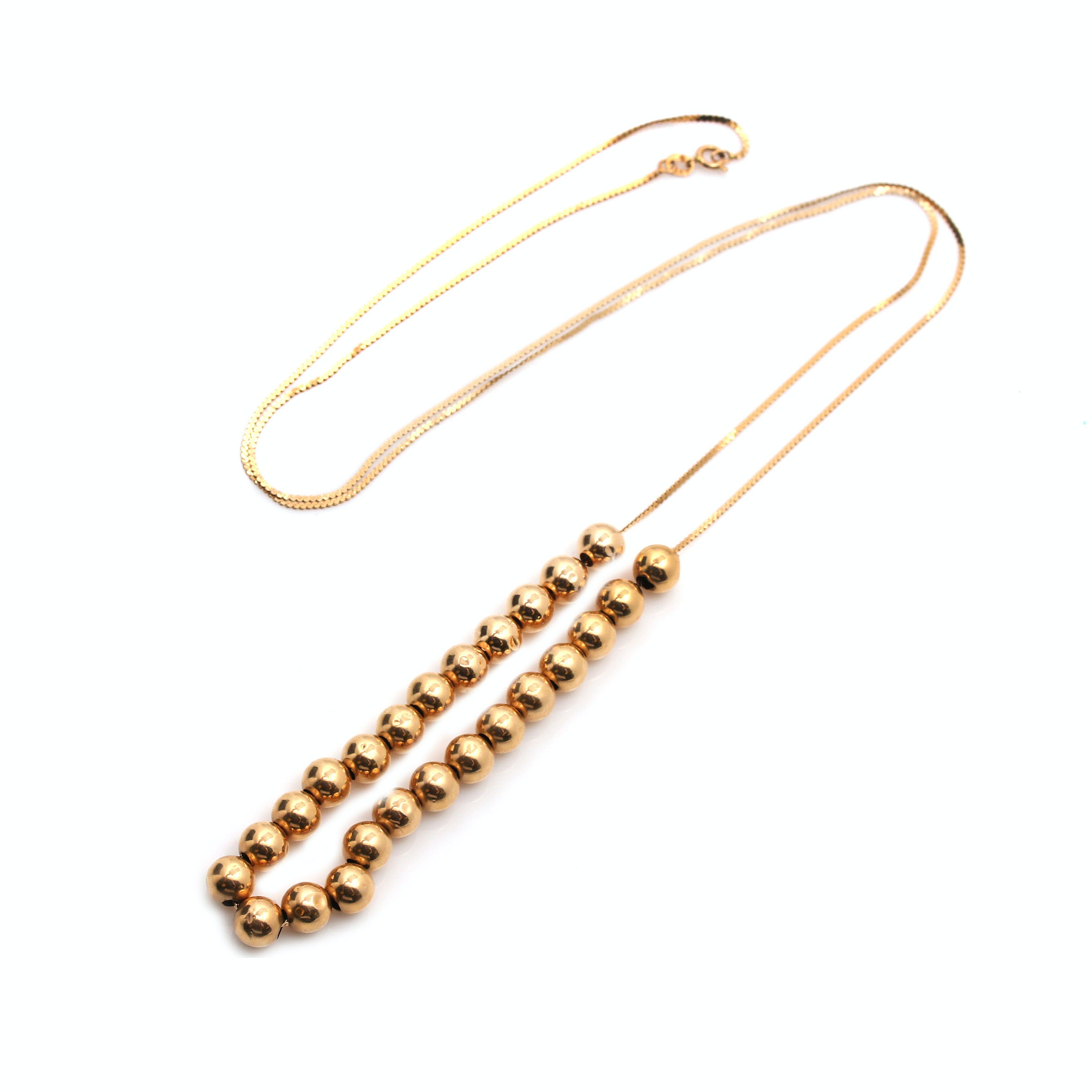 14K Yellow Gold Beaded Necklace