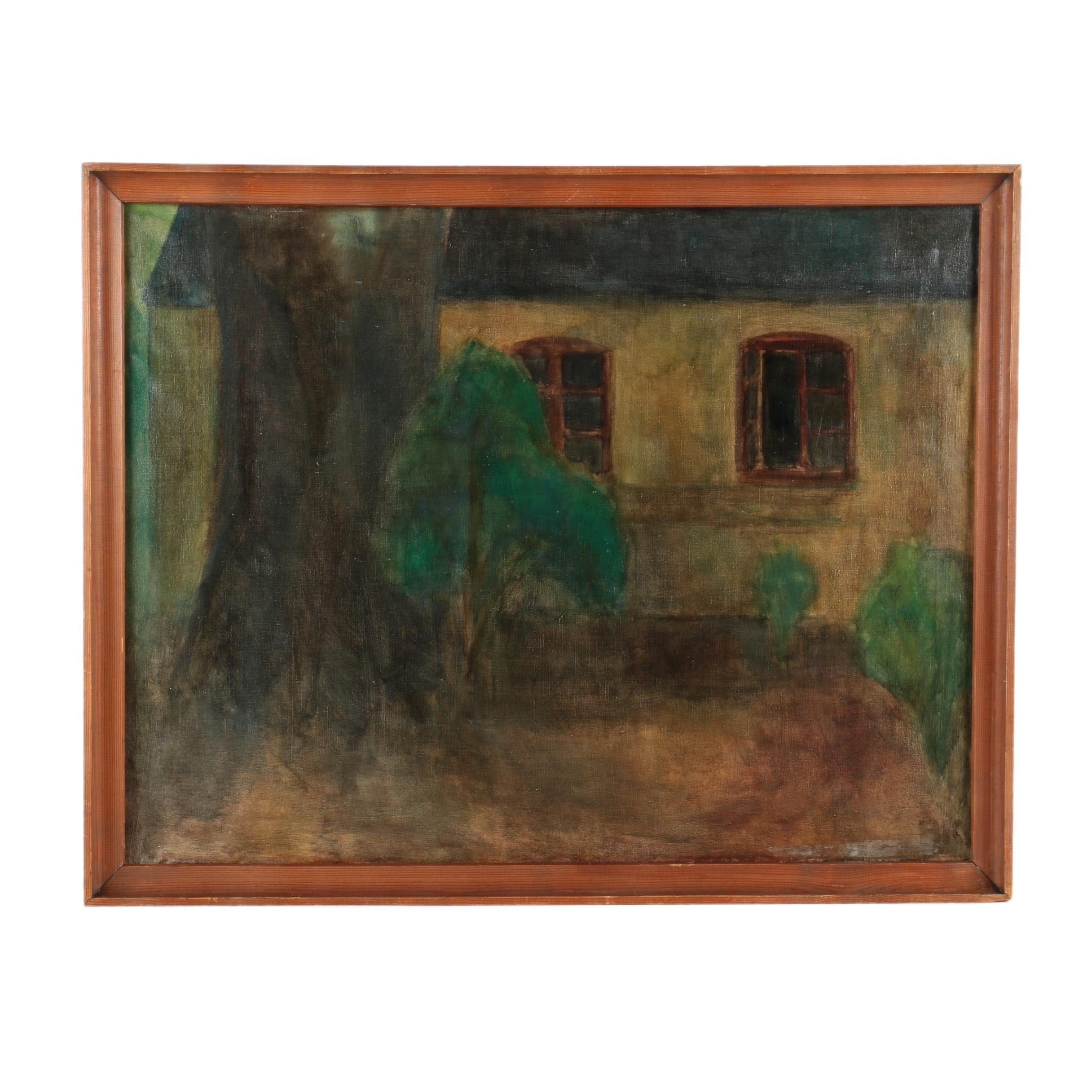 "Bodil Kaalund Oil on Canvas Painting ""Huset, Vallø"""