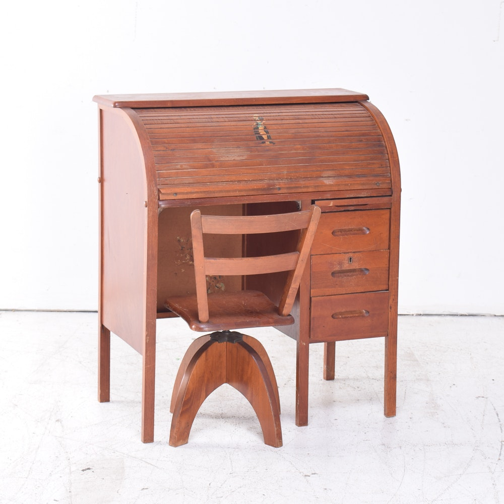 Vintage Child's Birch Roll-Top Desk and Chair