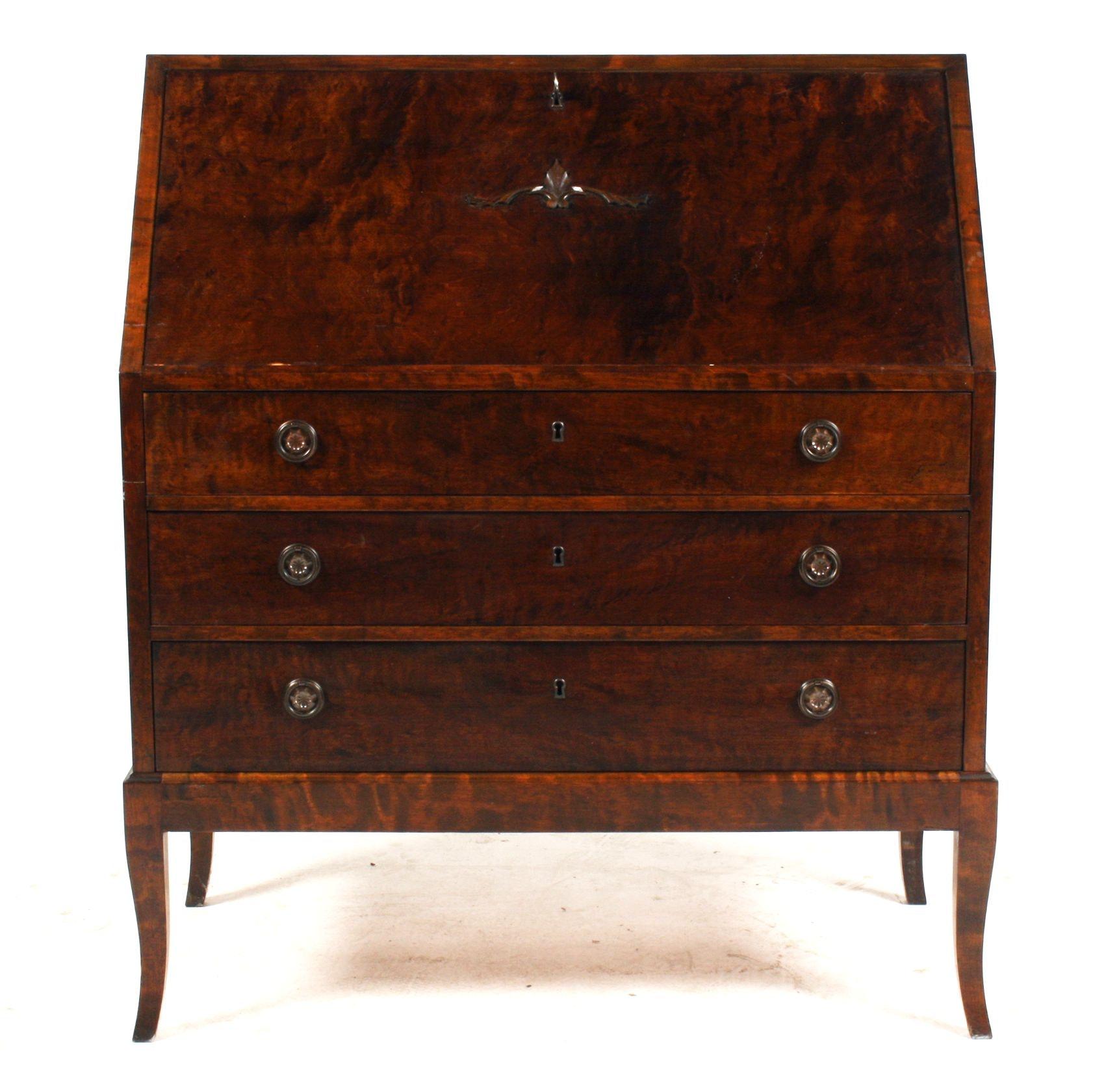 Antique Swedish Birch Slant Front Desk