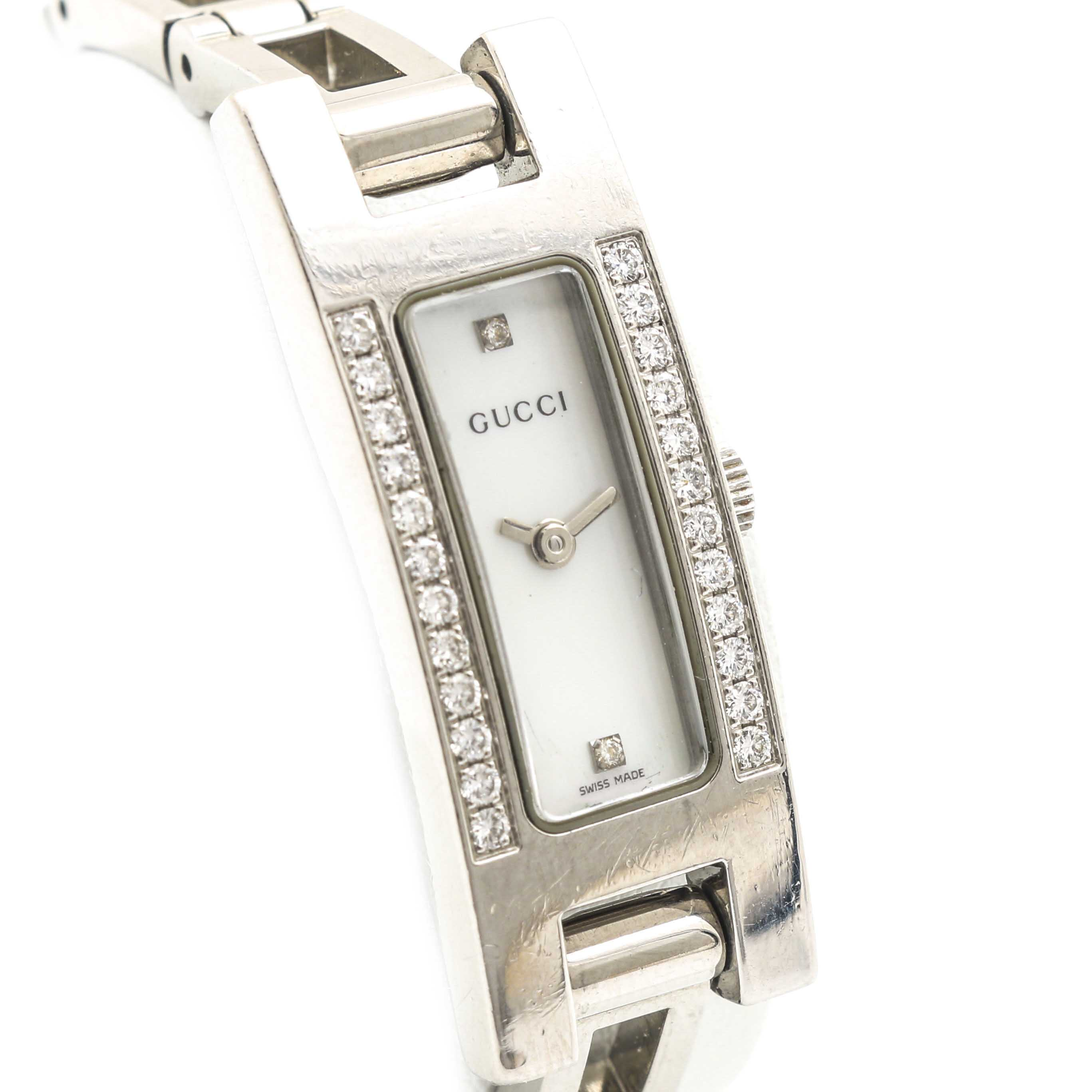 gucci 3900l. gucci 3900l mother of pearl and diamond wristwatch 3900l