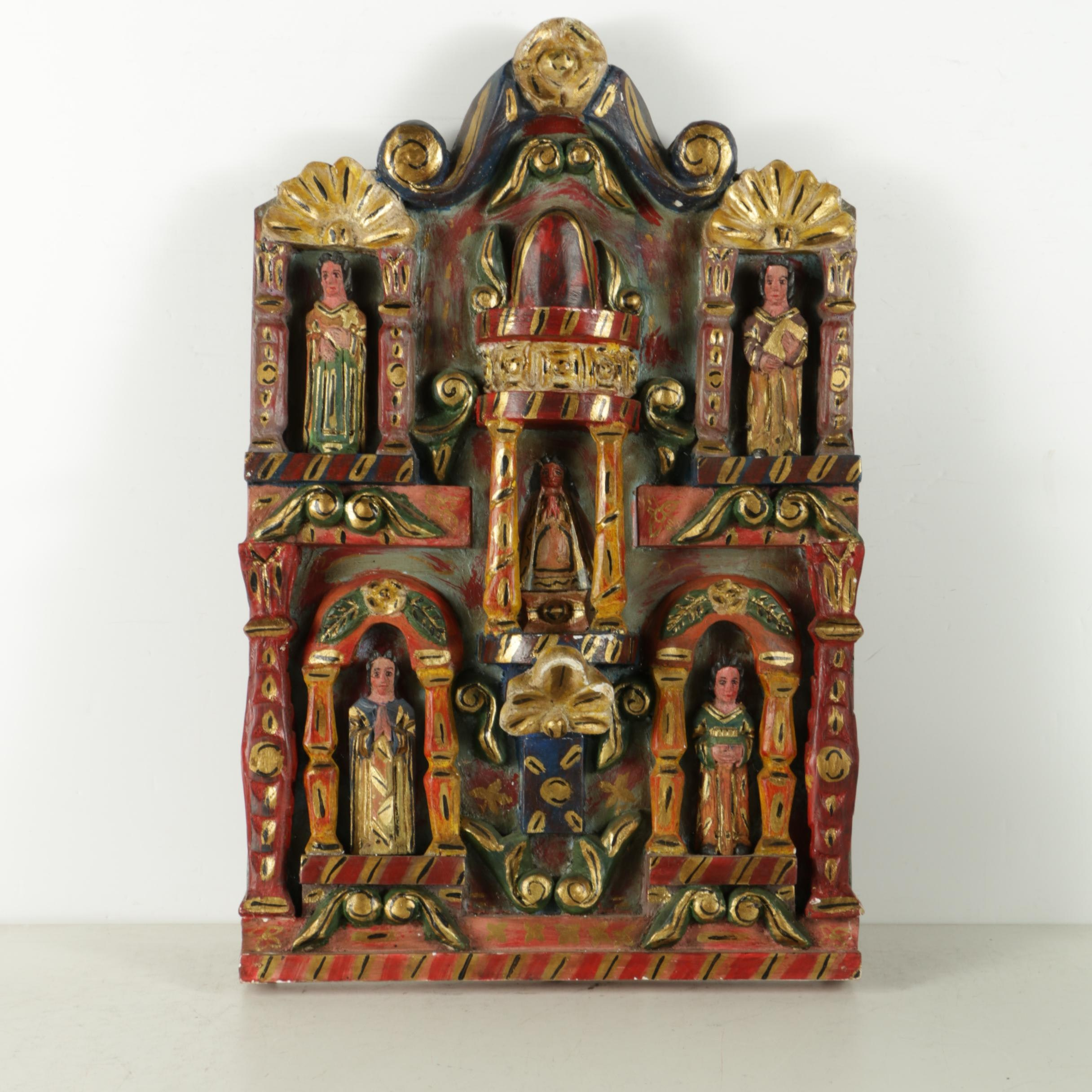 Mexican Hand-Painted Retablo Carving