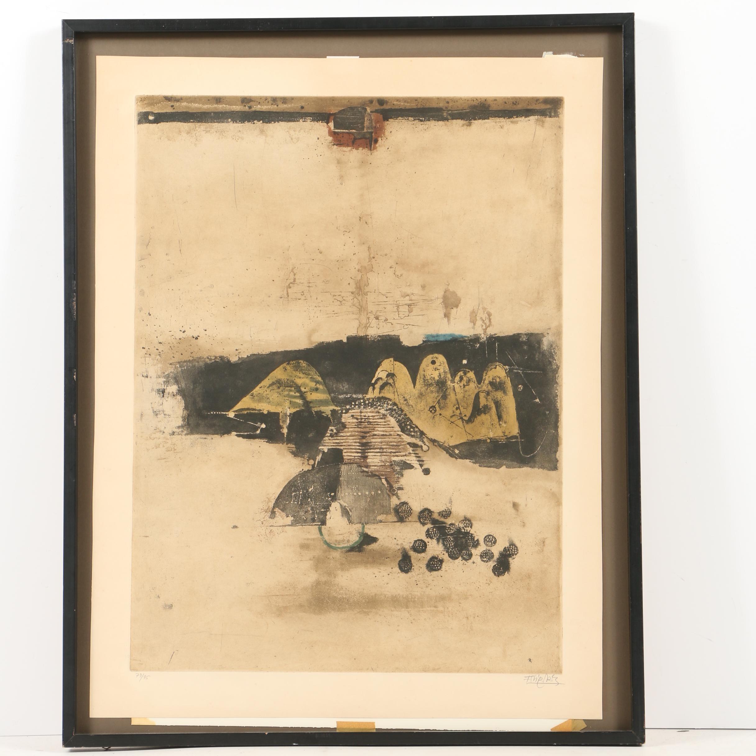 "Limited Edition Aquatint ""Landscape After Rain"" by Johnny Friedlaender"