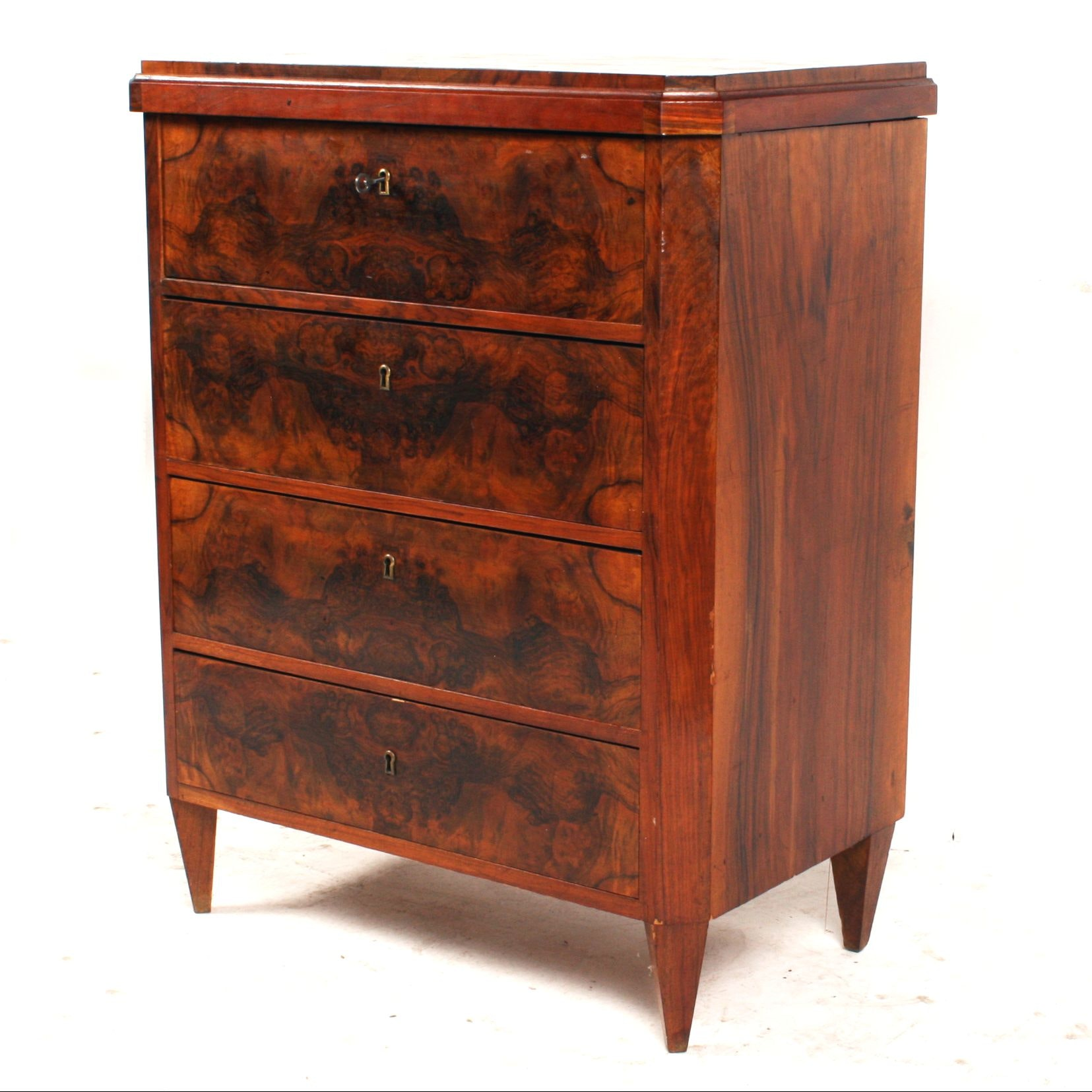 Antique Swedish Walnut Small Chest Of Drawers