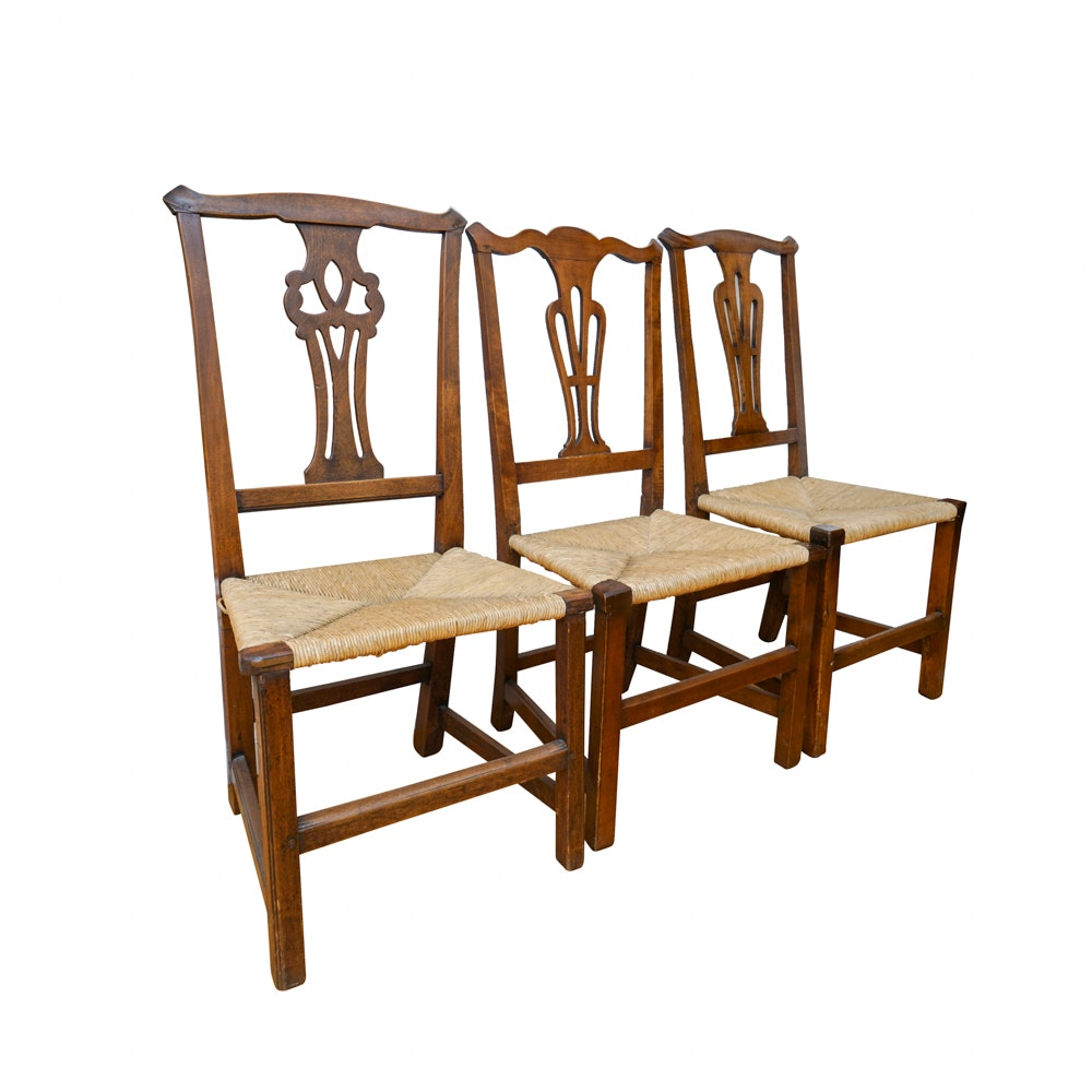 Antique Chippendale Style Hardwood Chairs with Rush Seats