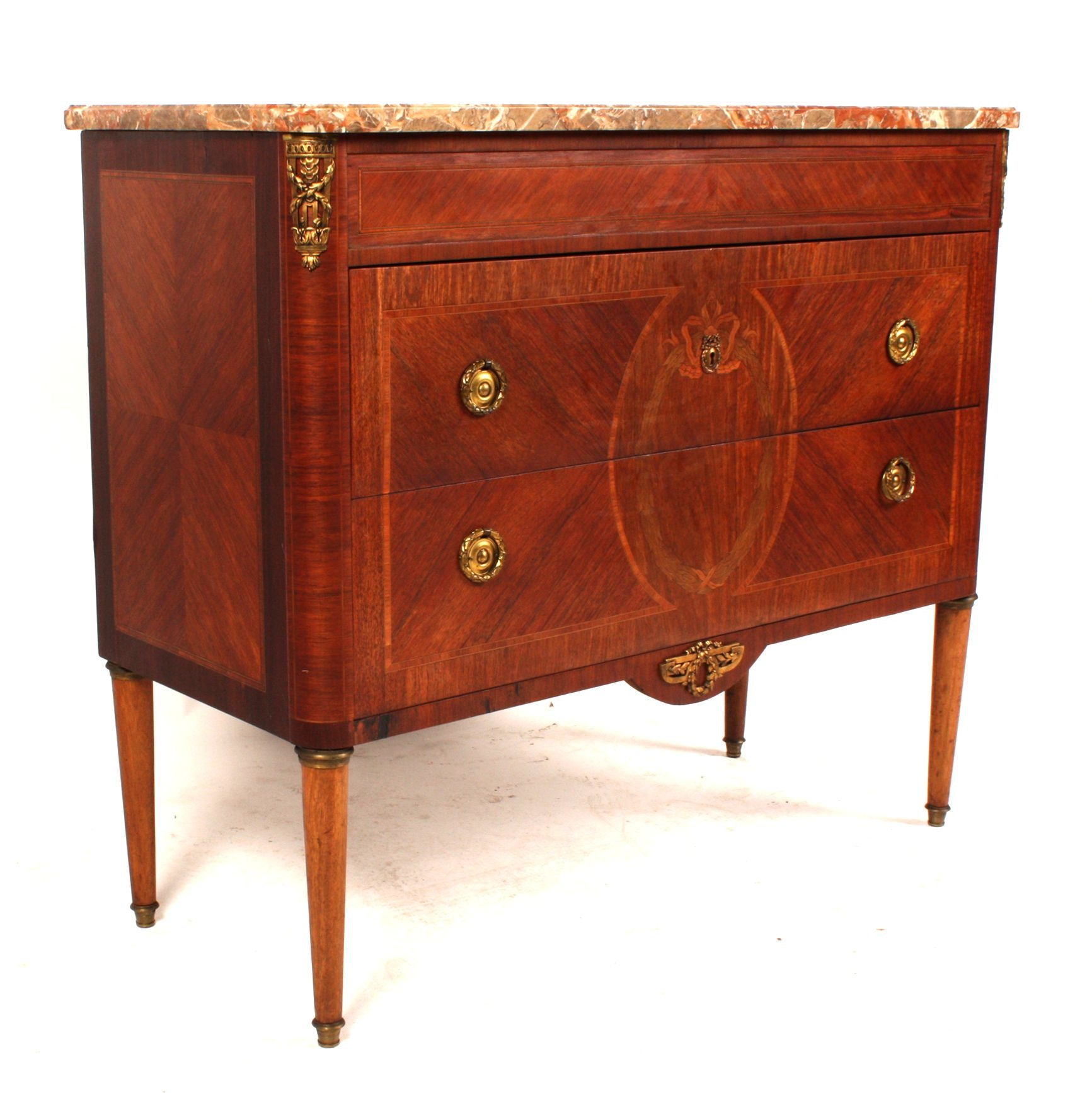 Antique Swedish Gustavian Style Marble Top Commode