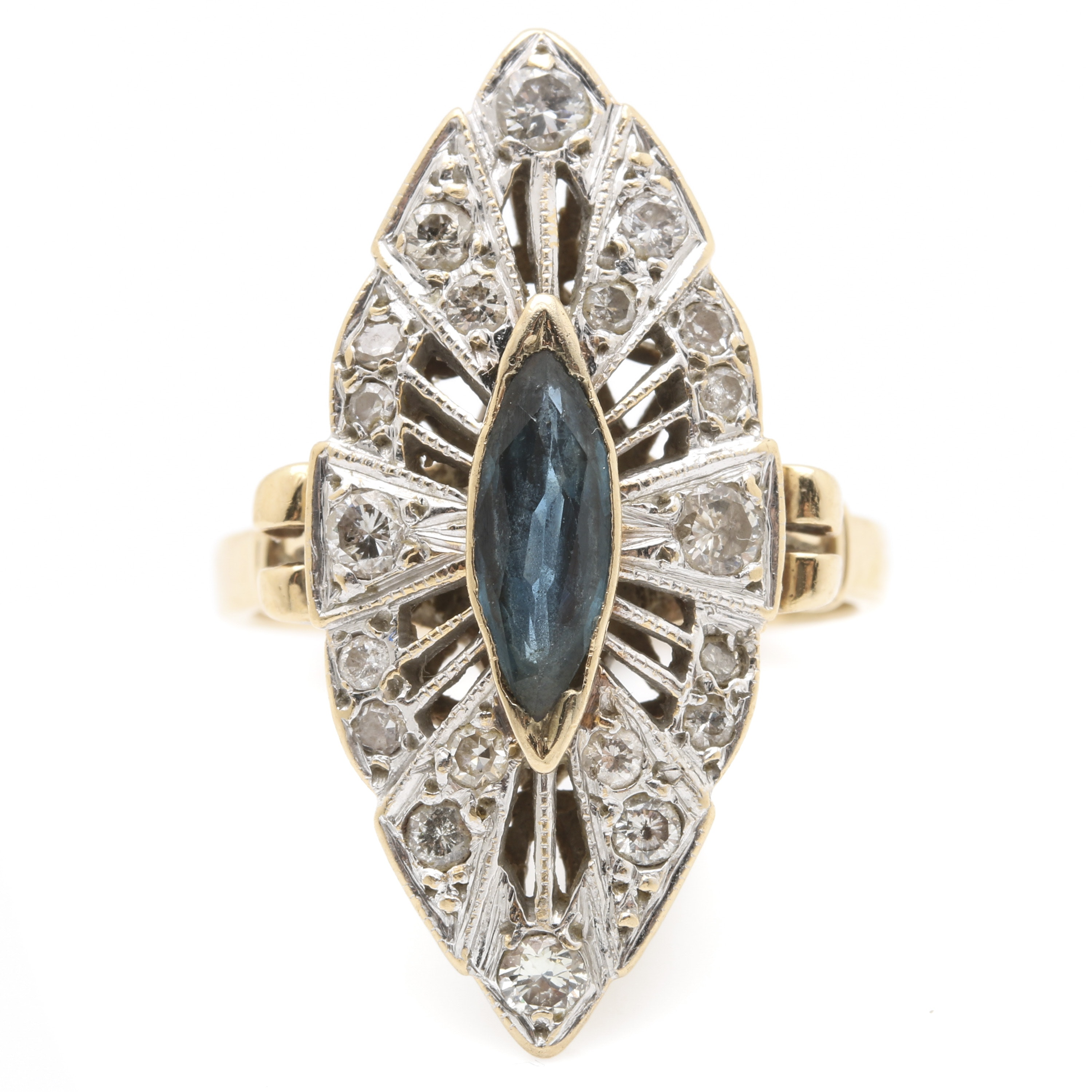 14K Two Tone Gold Navette Sapphire and Diamond Ring