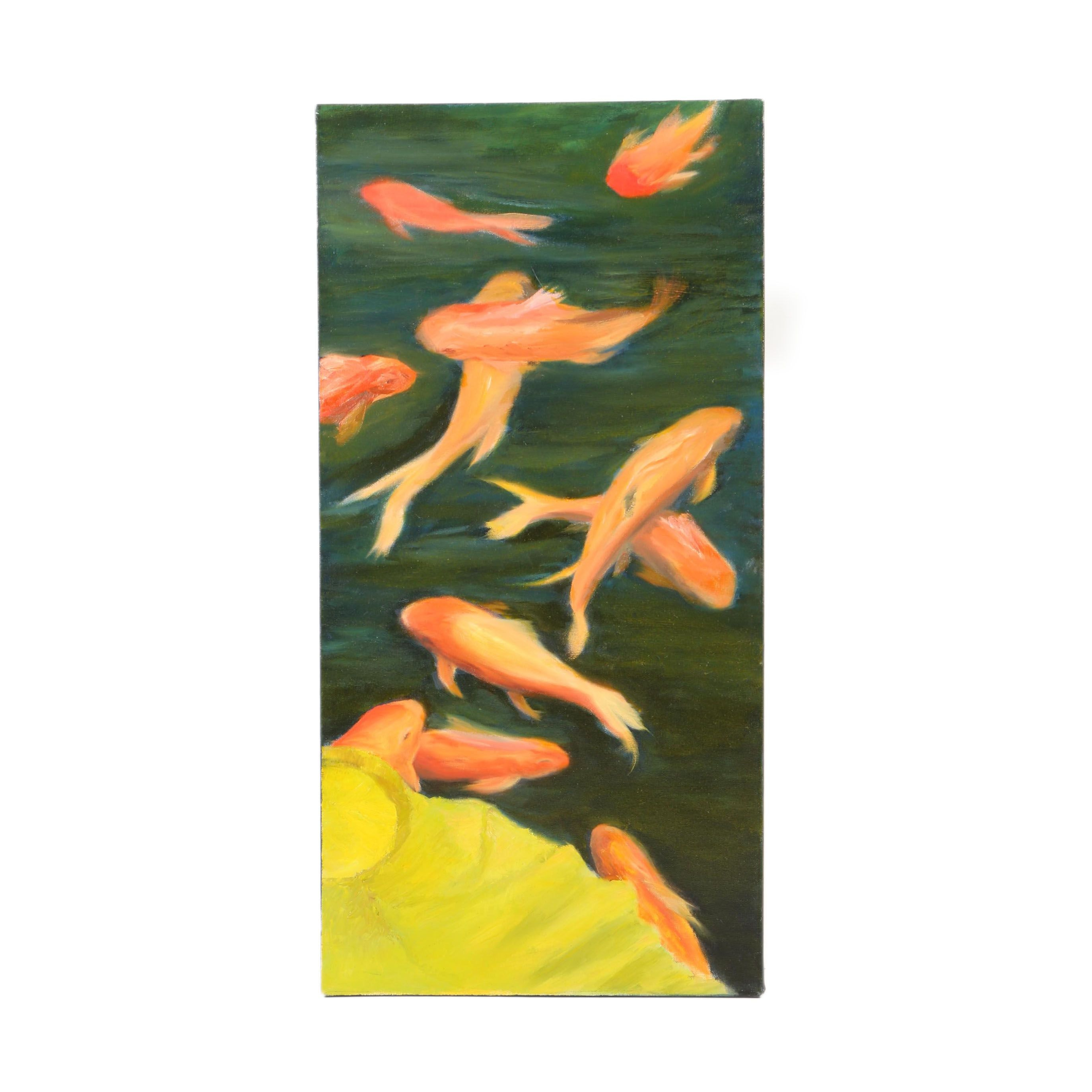 Acrylic Painting on Canvas of Gold Fish