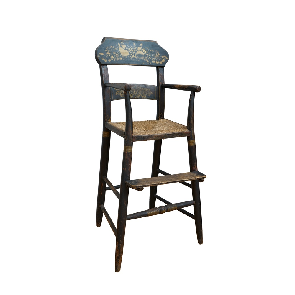 Hitchcock Style High Chair with Rush Seat