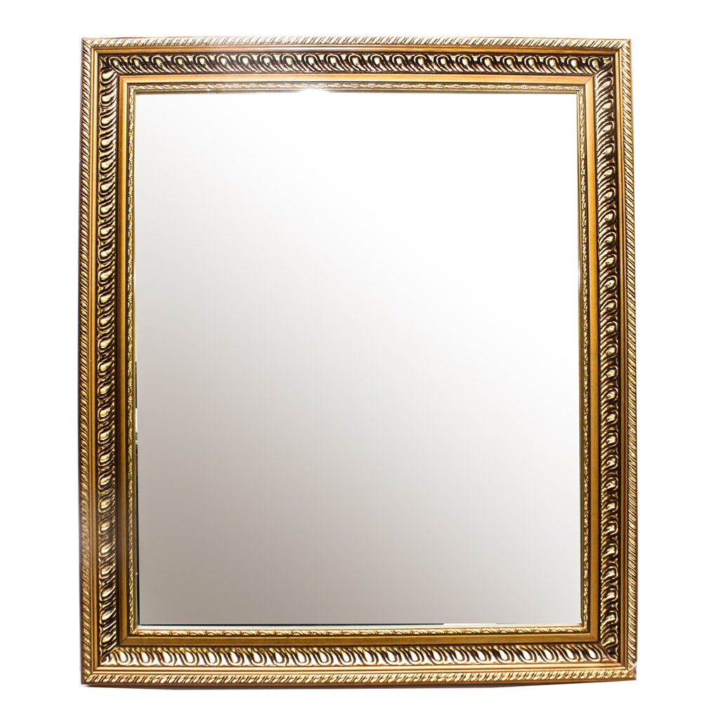 Vintage Wood Frame Wall Mirror