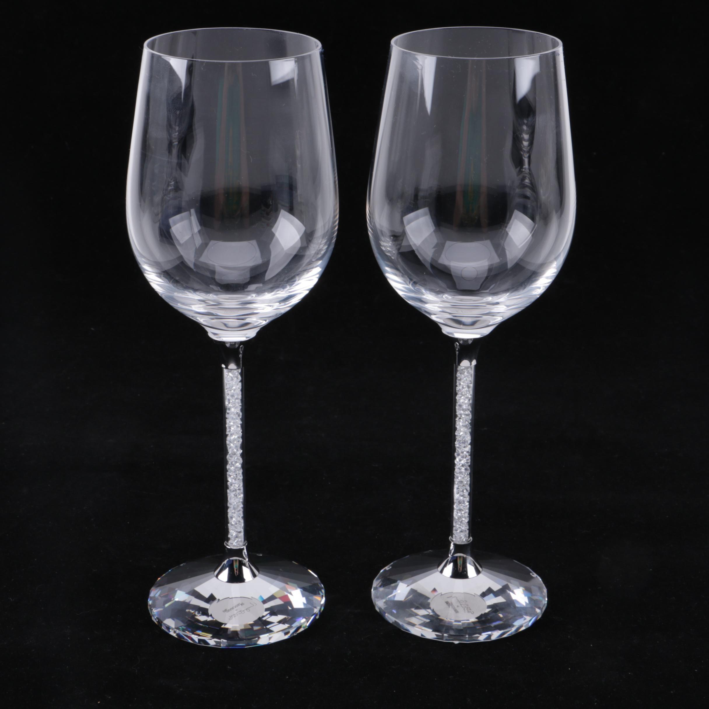 "Swarovski Crystal ""Crystalline"" Wine Glasses with Artist's Signature"