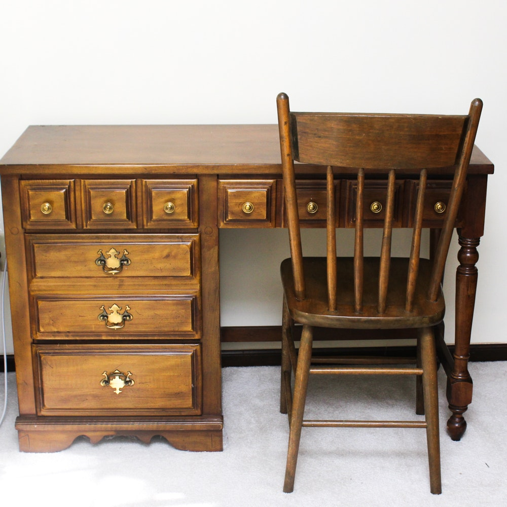 Veneered Wood Desk and Chair