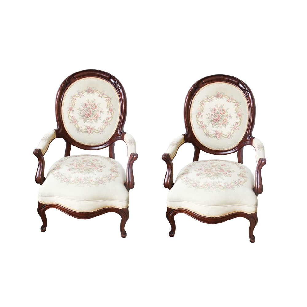 Louis XV Style Armchairs with Needlepoint Upholstery