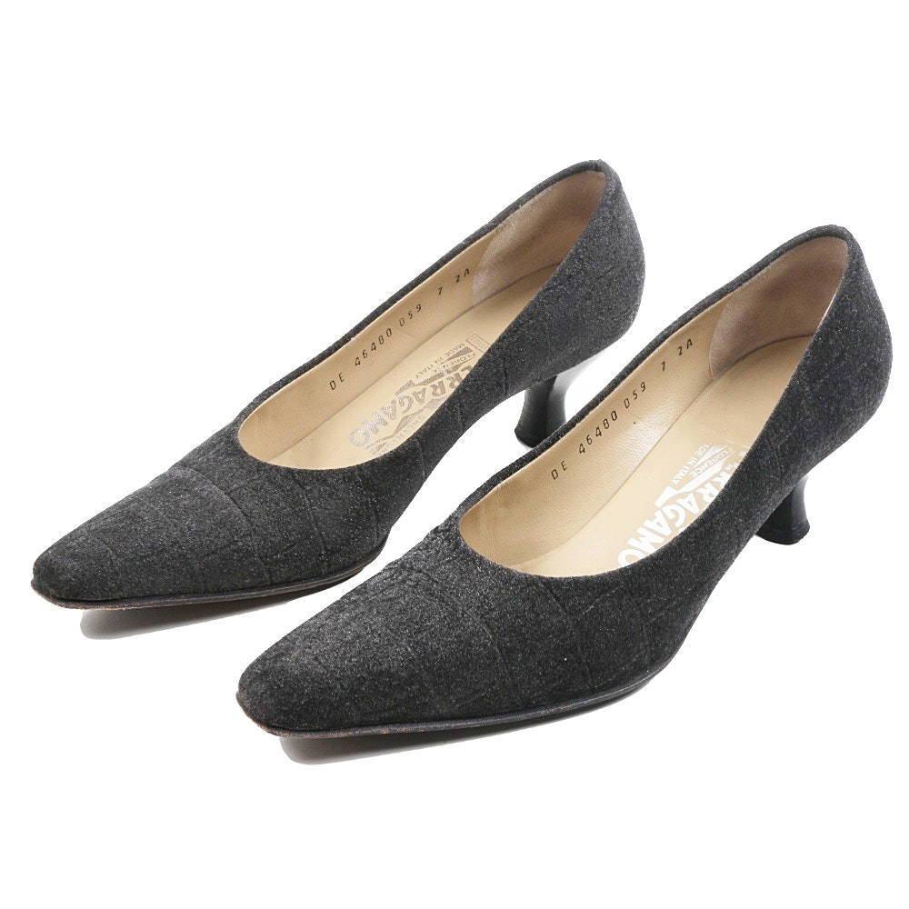 "Salvatore Ferragamo ""Africa"" Kitten Heels in Slate Gray Sueded Fabric"
