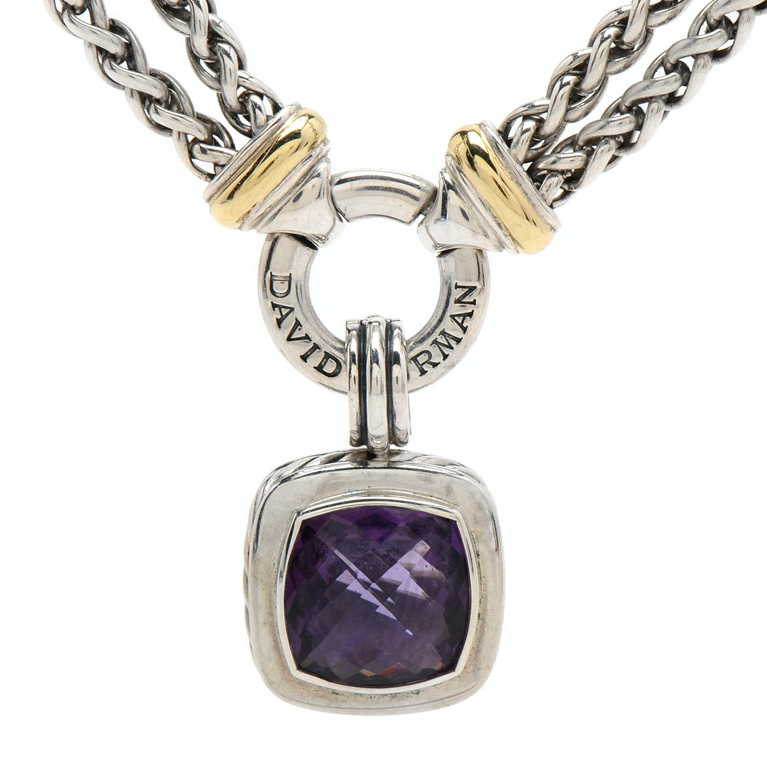 David Yurman Sterling Silver and Amethyst Necklace