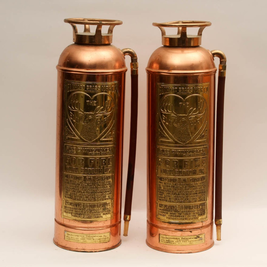 Vintage elkhart copper and brass fire extinguishers ebth for Premier motors elkhart in