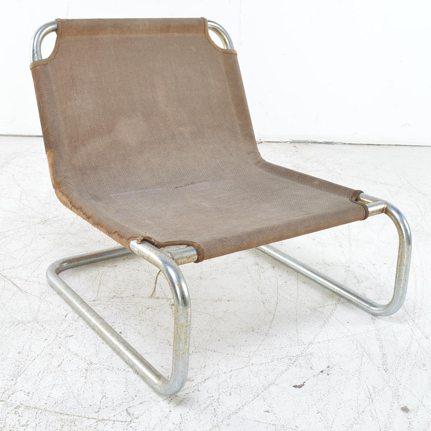 Mid-Century Metal and Fabric Chair