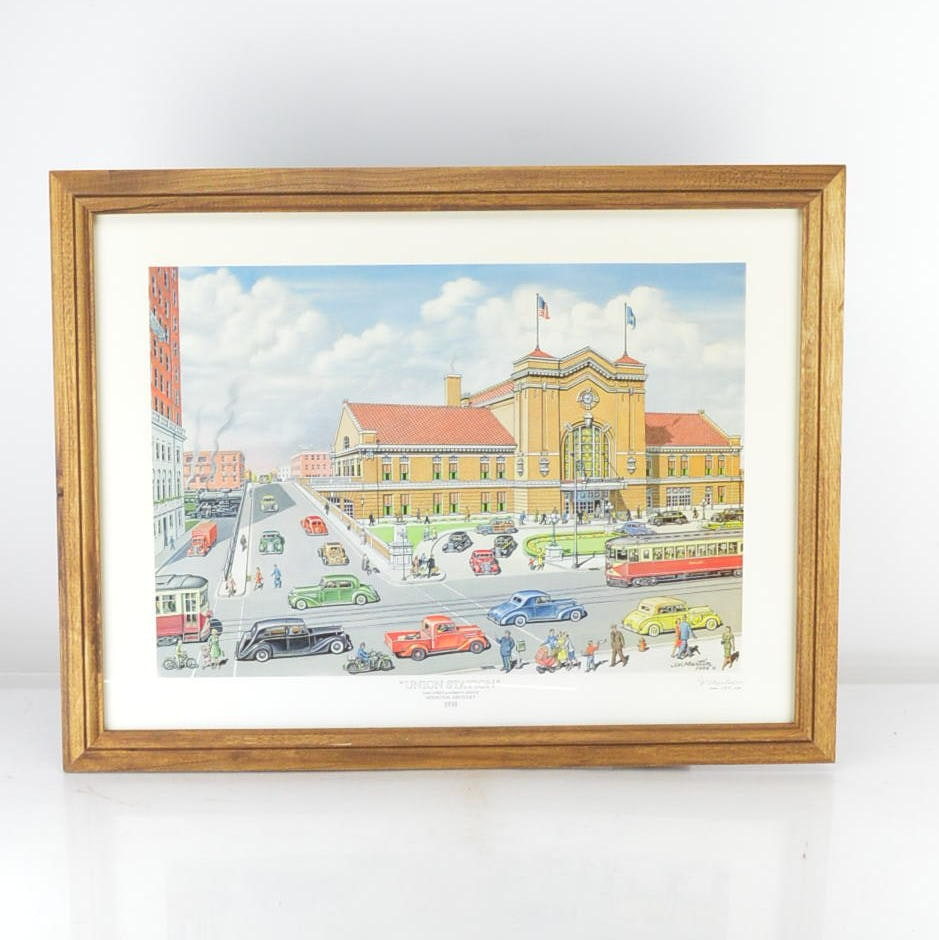 """J.V. Martin Limited Edition Offset Lithograph """"Union Station"""""""