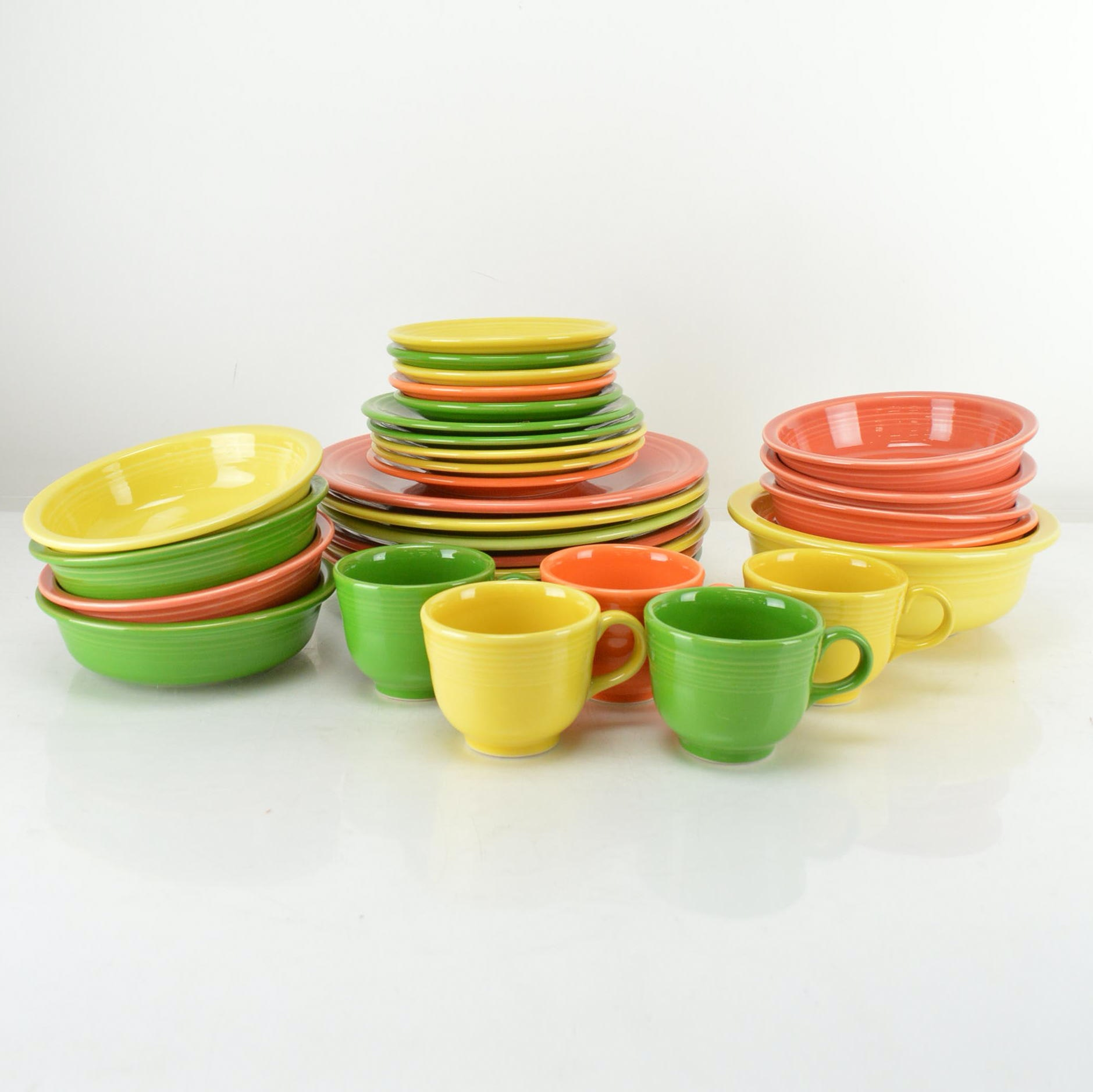 Fiestaware Plates, Bowls, and Teacups
