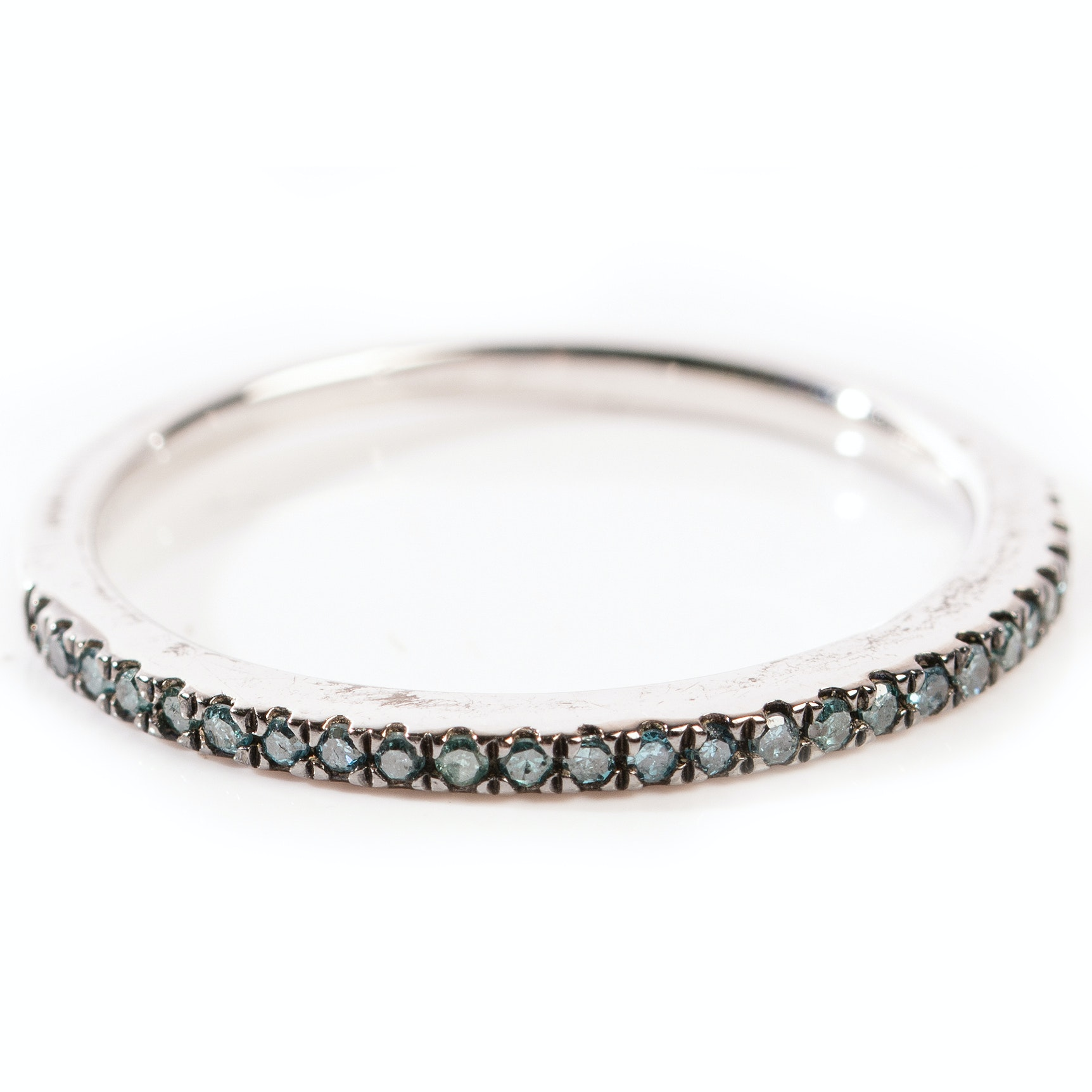 Sterling Silver Irradiated Blue Diamond Band