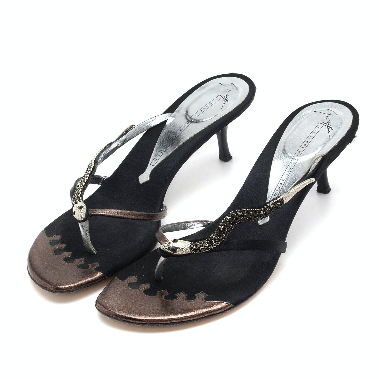 "Giuseppe Zanotti ""Snake"" Kitten Heel Sandals"
