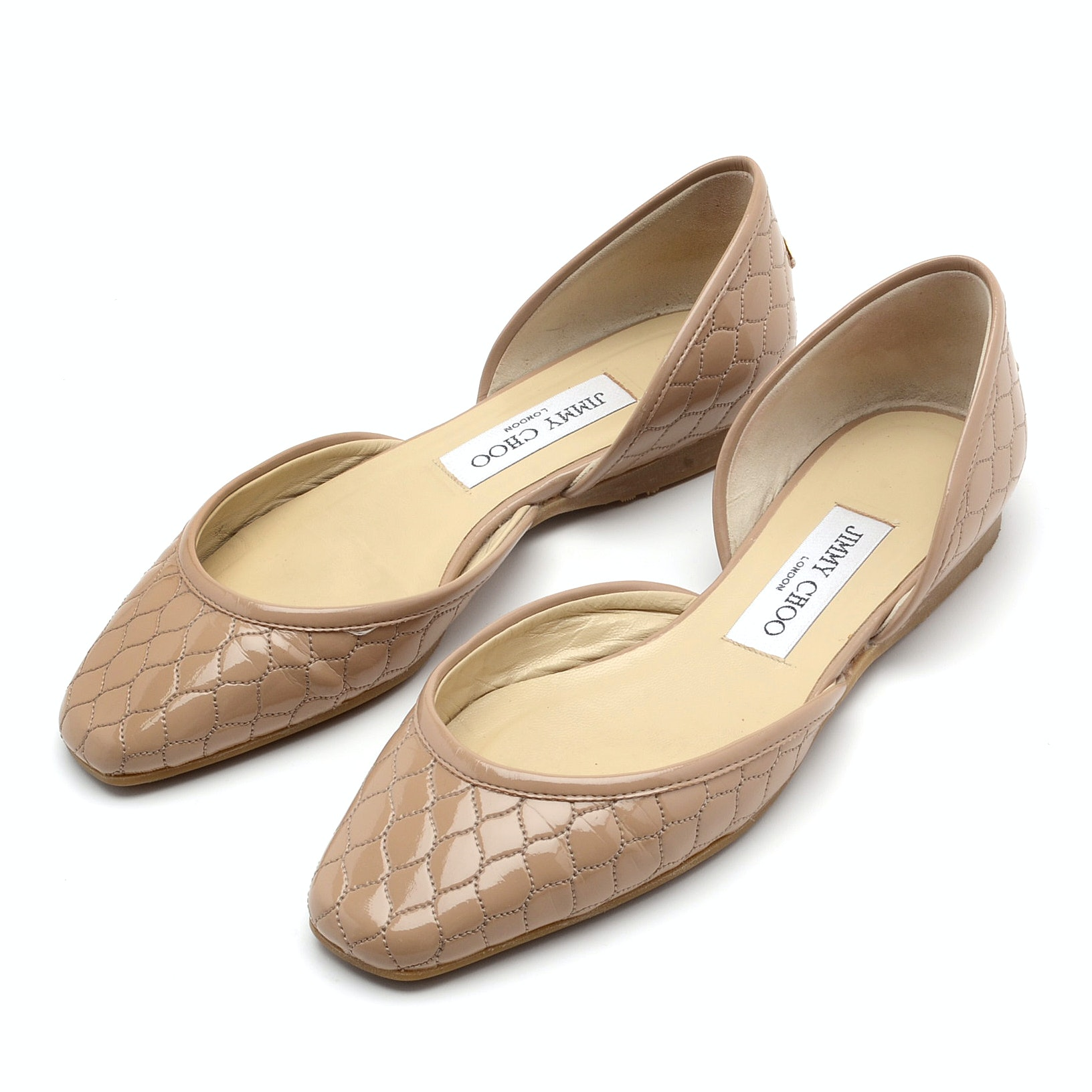 "Jimmy Choo London Quilted Patent Leather ""d'Orsay"" Ballet Flats in Nude"