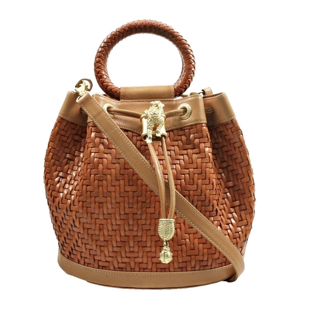 Barry Kieselstein-Cord Tan Woven Leather Drawstring Bucket Handbag with Lizard