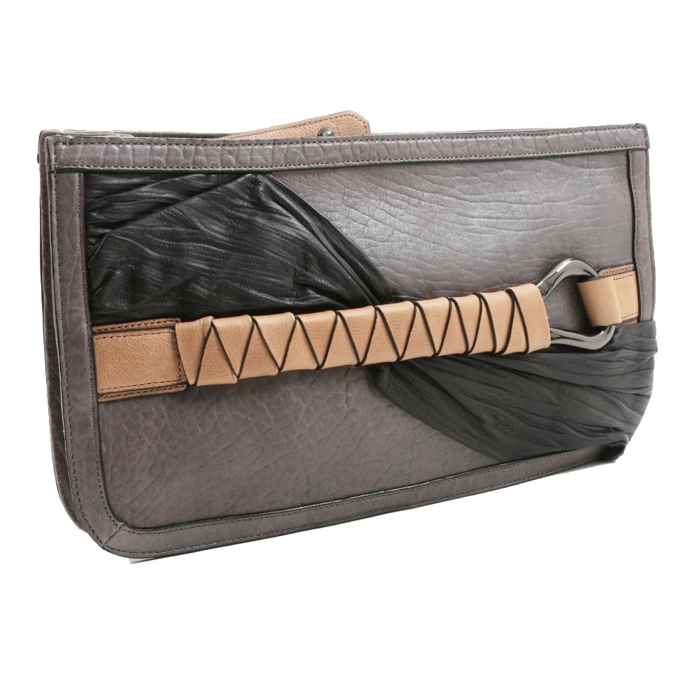 Halston Heritage Gray Metallic Leather Clutch Bag