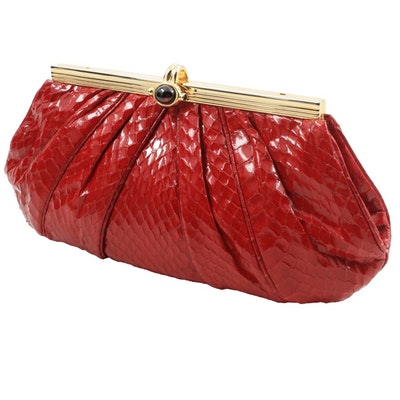 Judith Leiber Red Pleated Snakeskin Clutch