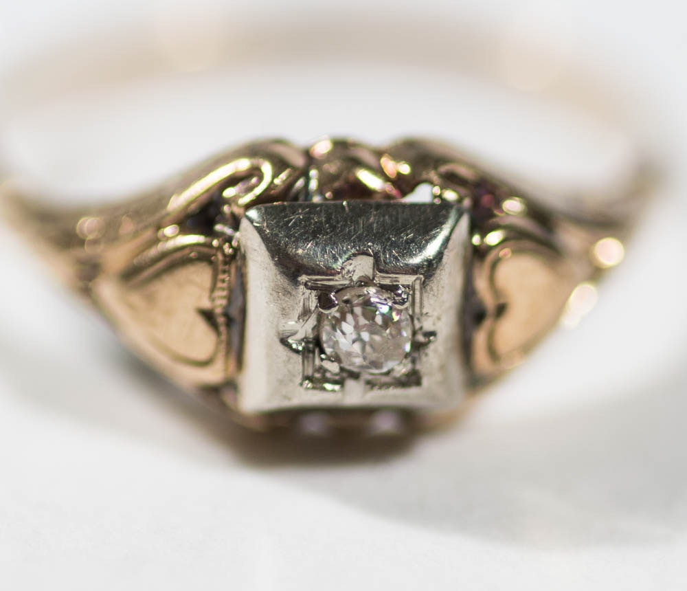 Antique Two Tone Gold and Old European Cut Diamond Ring