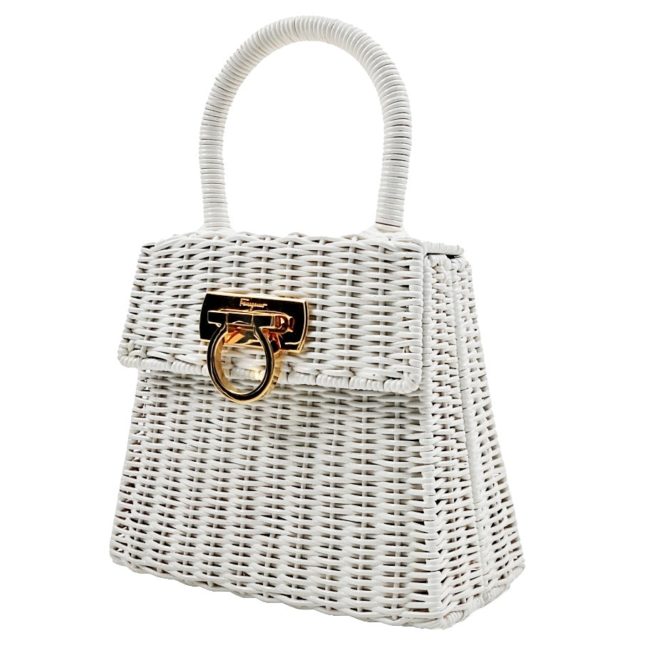 Salvatore Ferragamo White Wicker Purse
